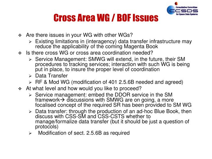 Cross Area WG / BOF Issues