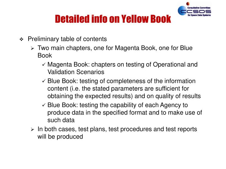 Detailed info on Yellow Book