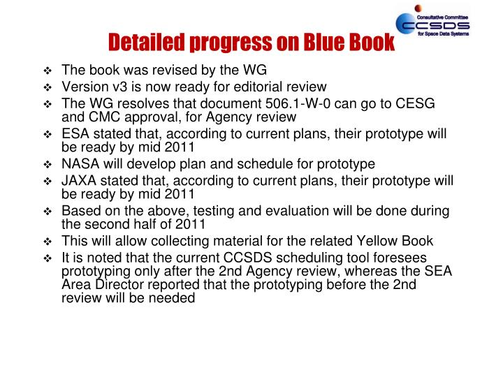 Detailed progress on Blue Book