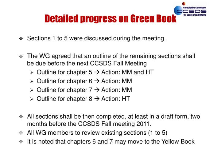 Detailed progress on Green Book