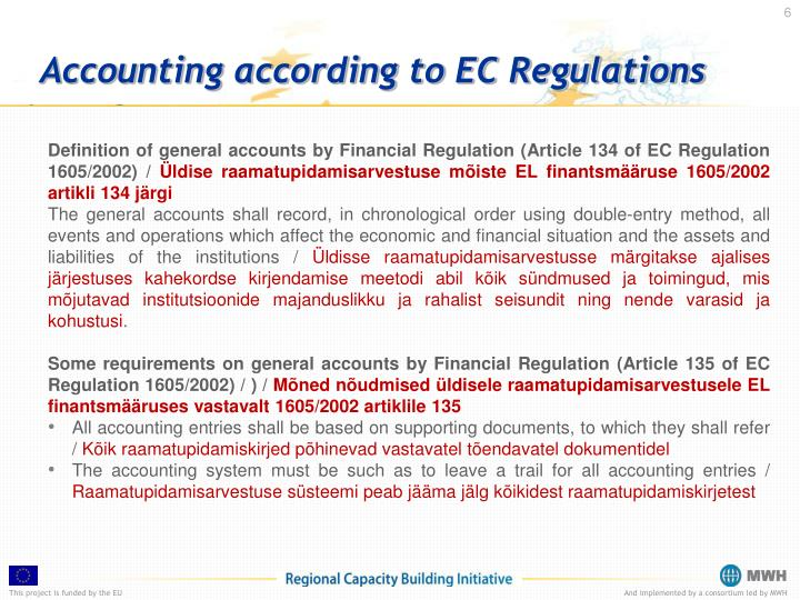 Accounting according to EC Regulations