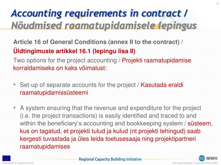 Accounting requirements in contract