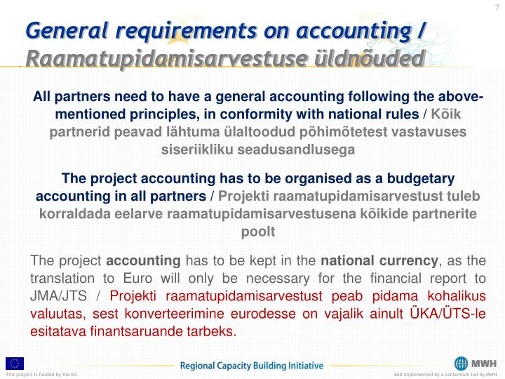 General requirements on accounting