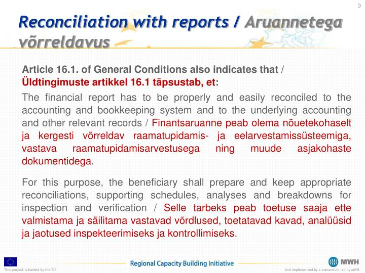 Reconciliation with reports