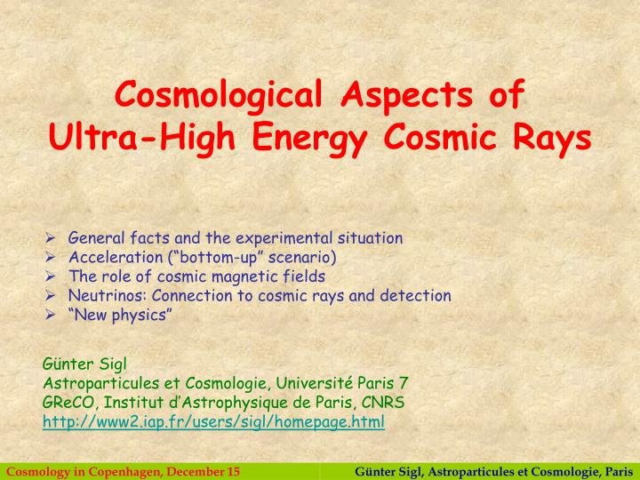Cosmological Aspects of