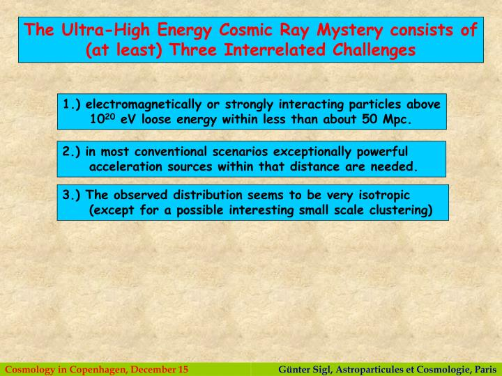 The Ultra-High Energy Cosmic Ray Mystery consists of