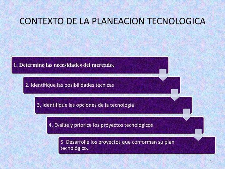 CONTEXTO DE LA PLANEACION TECNOLOGICA