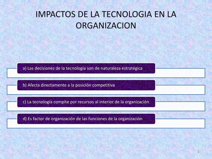 IMPACTOS DE LA TECNOLOGIA EN LA ORGANIZACION