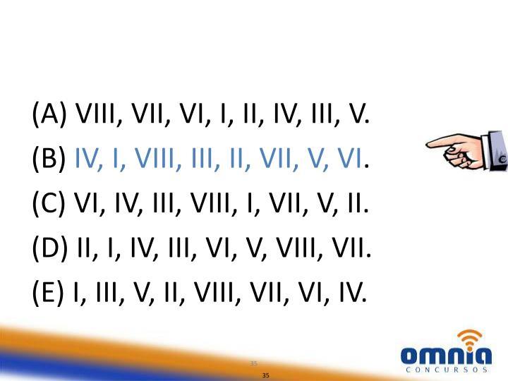 (A) VIII, VII, VI, I, II, IV, III, V.
