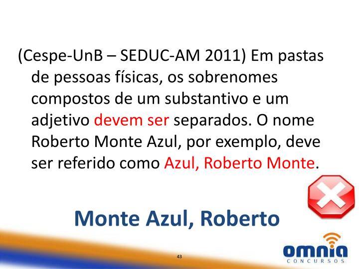(Cespe-UnB – SEDUC-AM 2011) Em pastas de pessoas físicas, os sobrenomes compostos de um substantivo e um adjetivo