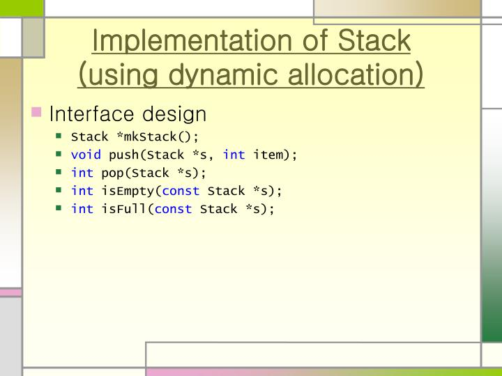 Implementation of Stack