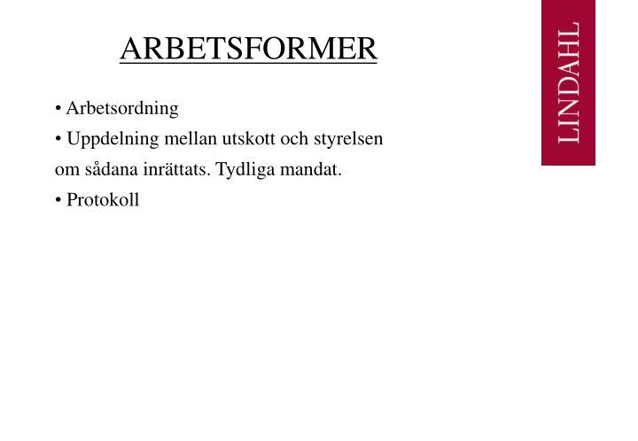 ARBETSFORMER