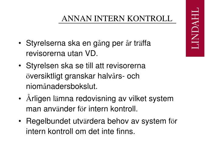 ANNAN INTERN KONTROLL