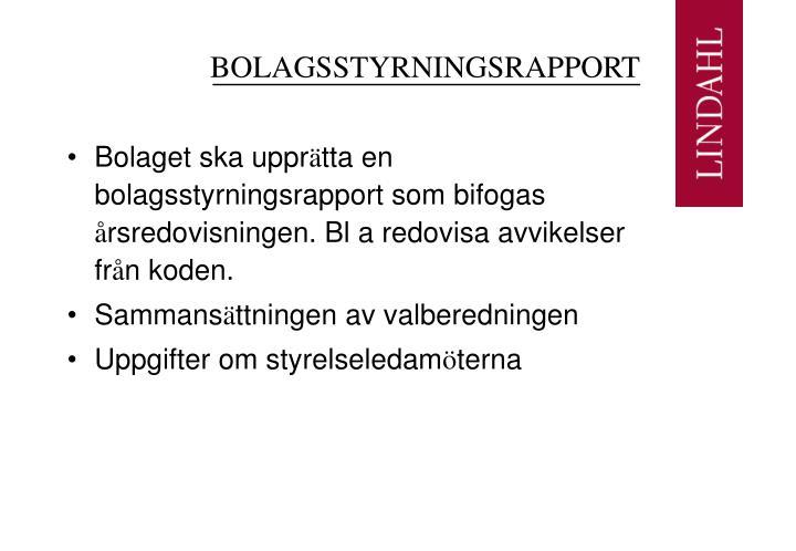 BOLAGSSTYRNINGSRAPPORT