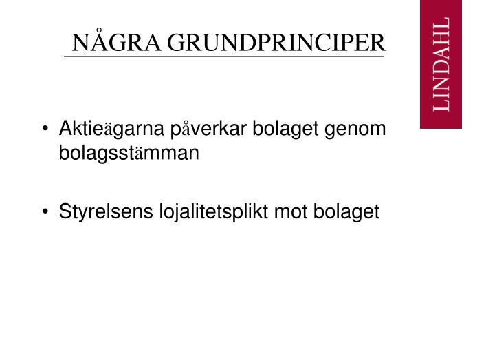 NÅGRA GRUNDPRINCIPER