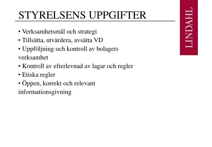 STYRELSENS UPPGIFTER