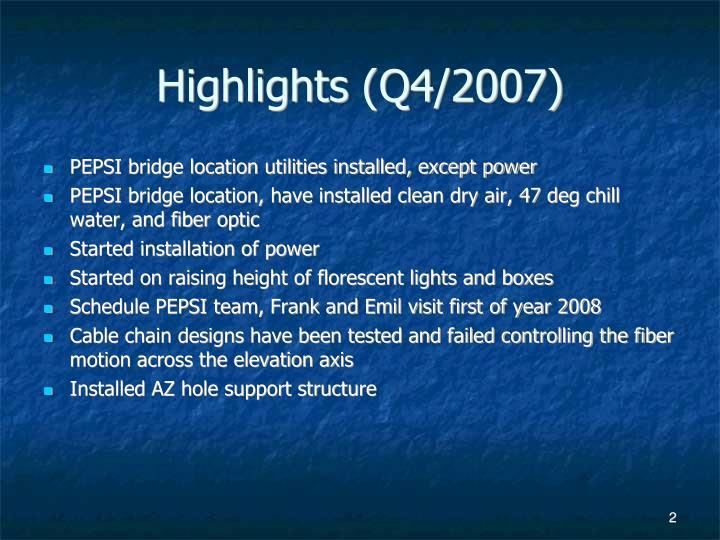 Highlights (Q4/2007)