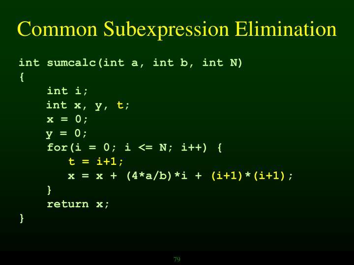 Common Subexpression Elimination