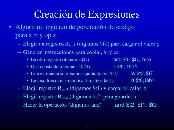 Creación de Expresiones