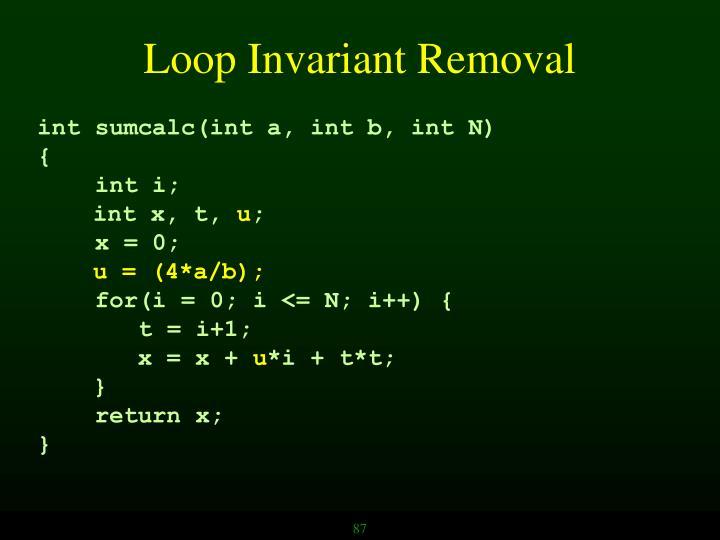 Loop Invariant Removal