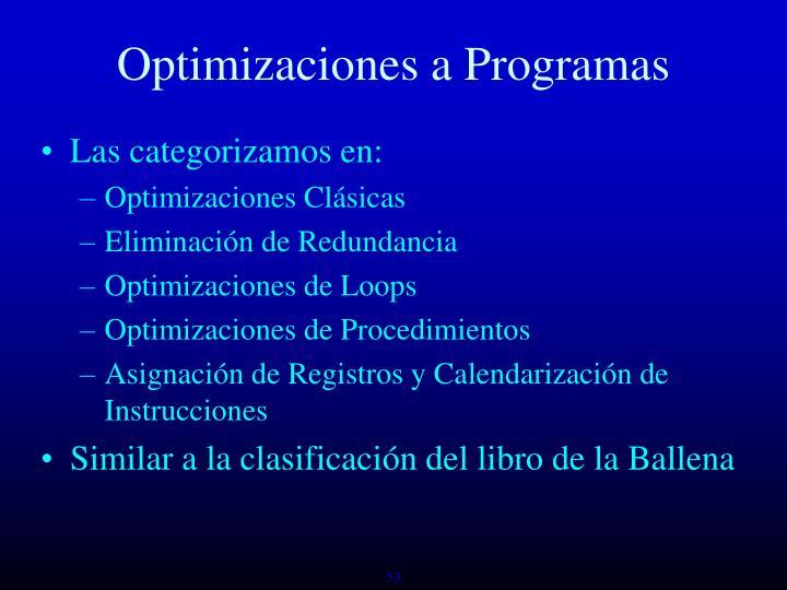 Optimizaciones a Programas
