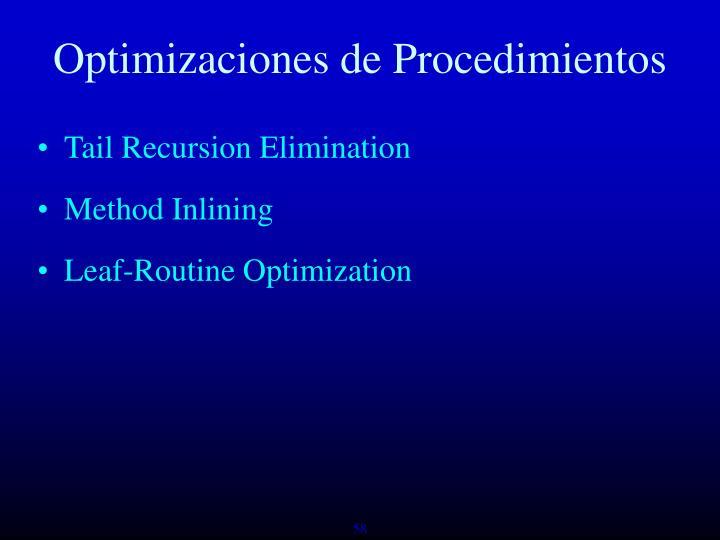 Optimizaciones de Procedimientos