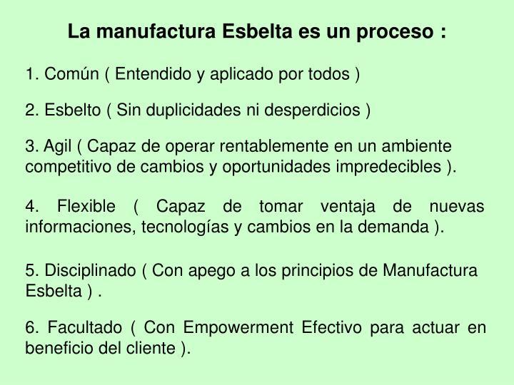La manufactura Esbelta es un proceso :