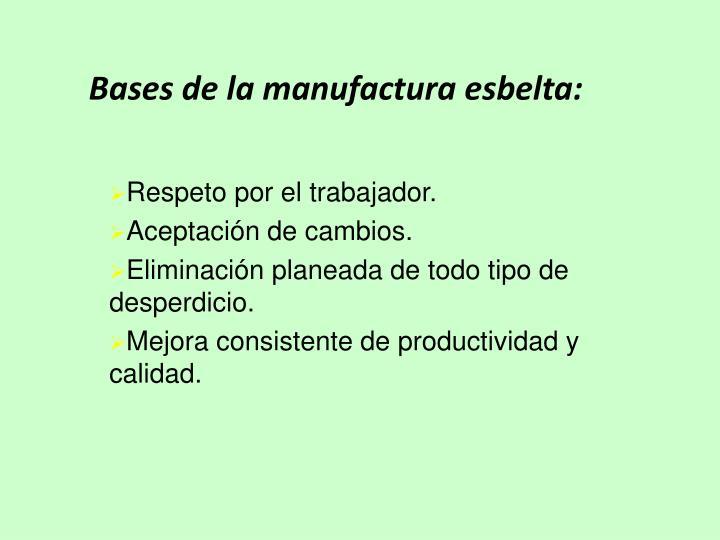 Bases de la manufactura esbelta: