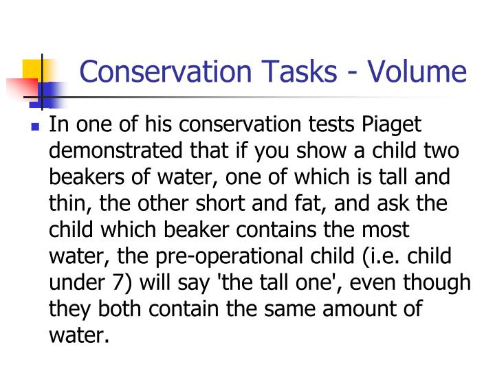 Conservation Tasks - Volume