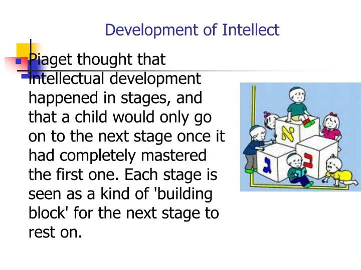 Piaget thought that intellectual development happened in stages, and that a child would only go on to the next stage once it had completely mastered the first one. Each stage is seen as a kind of 'building block' for the next stage to rest on.