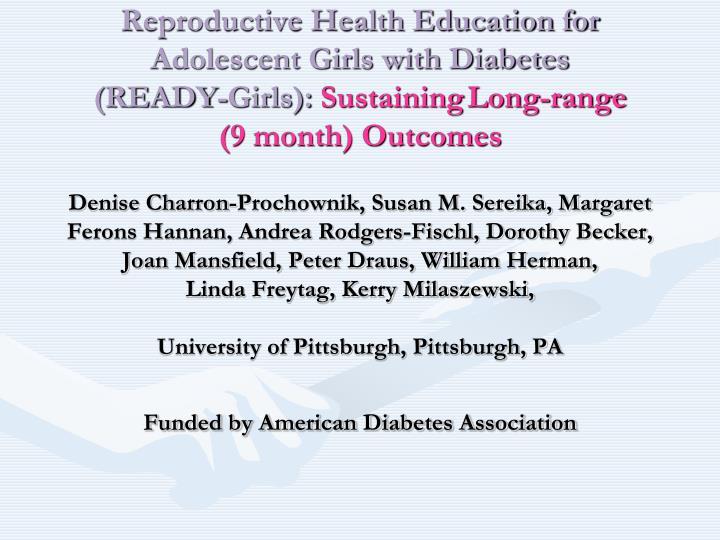 Reproductive Health Education for Adolescent Girls with Diabetes