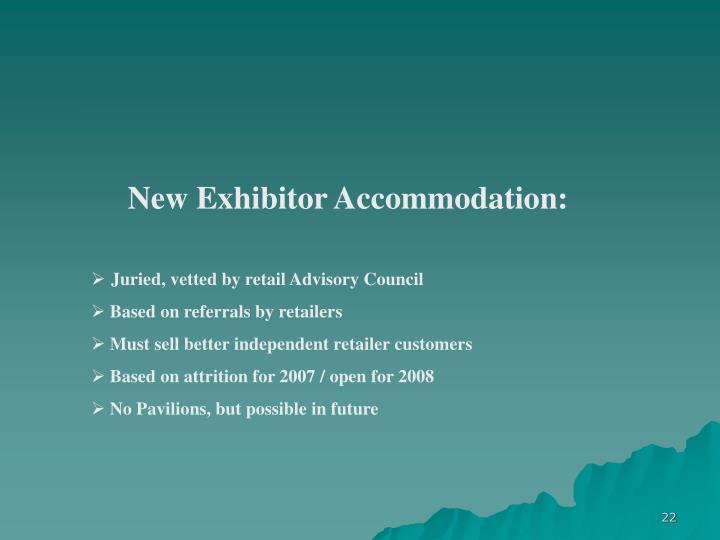New Exhibitor Accommodation:
