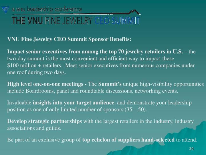VNU Fine Jewelry CEO Summit Sponsor Benefits: