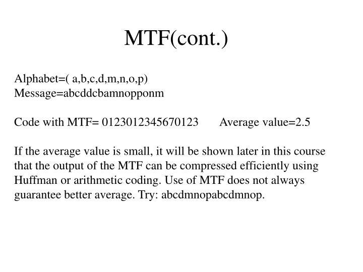 MTF(cont.)