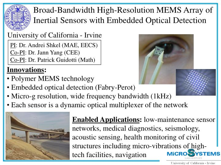 Broad-Bandwidth High-Resolution MEMS Array of