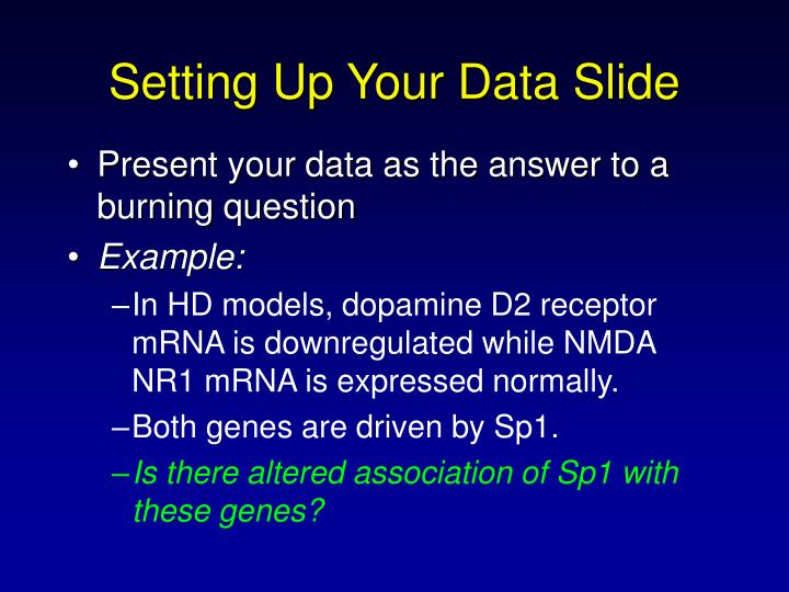 Setting Up Your Data Slide