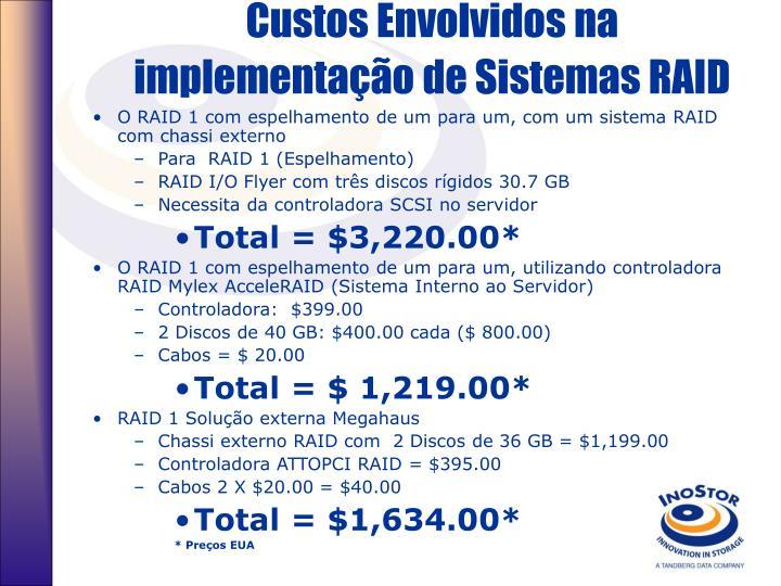 Custos Envolvidos na implementação de Sistemas RAID