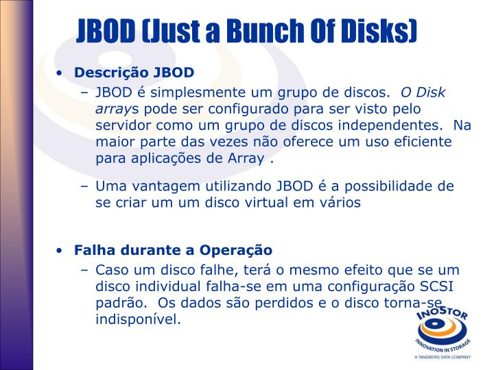 JBOD (Just a Bunch Of Disks)
