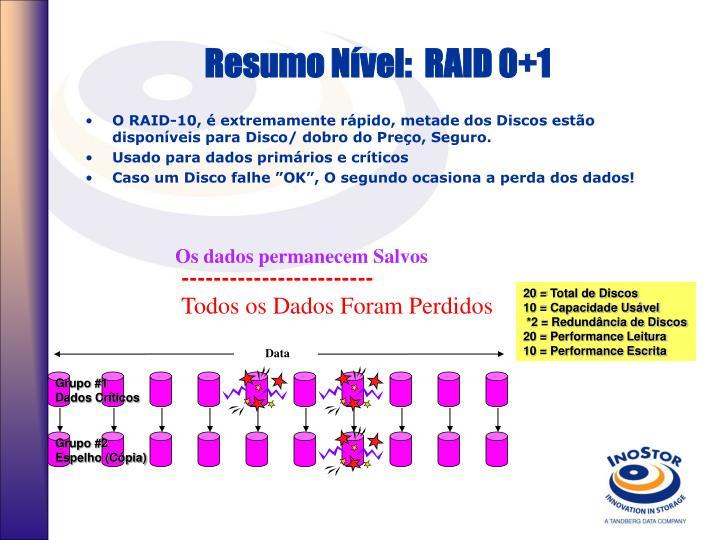 Resumo Nível:  RAID 0+1