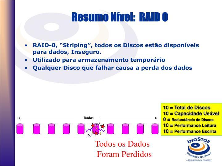 Resumo Nível:  RAID 0