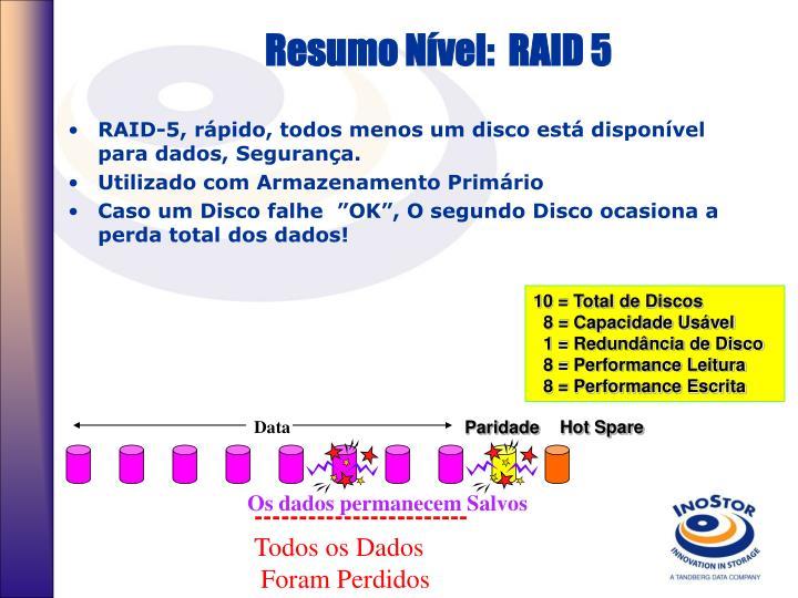Resumo Nível:  RAID 5