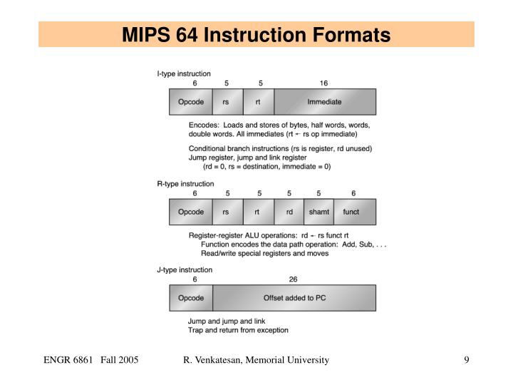 MIPS 64 Instruction Formats