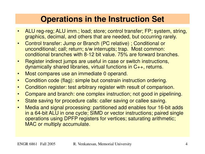 Operations in the Instruction Set