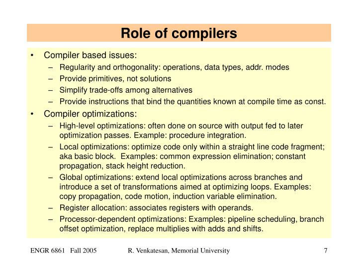 Role of compilers