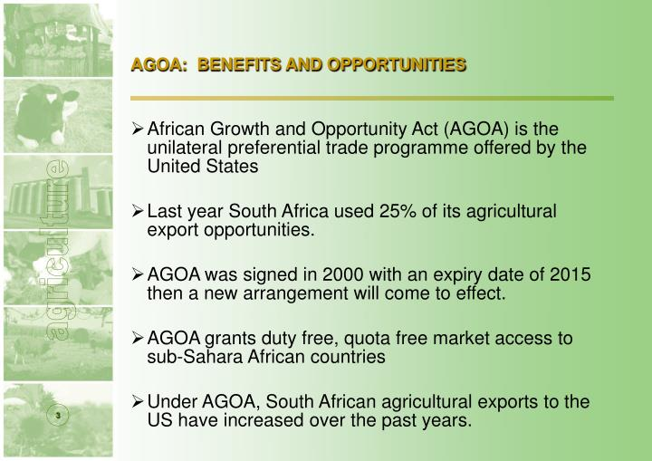 Agoa benefits and opportunities