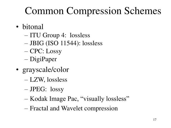 Common Compression Schemes