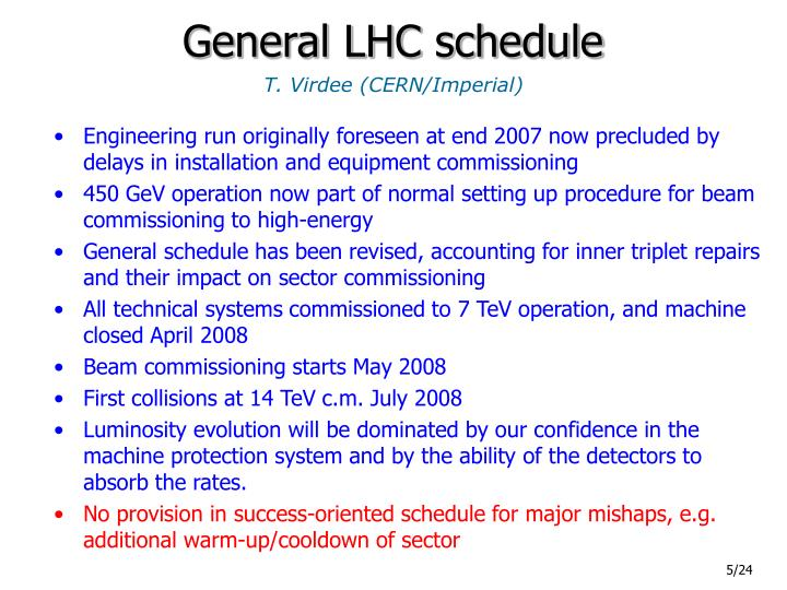 General LHC schedule