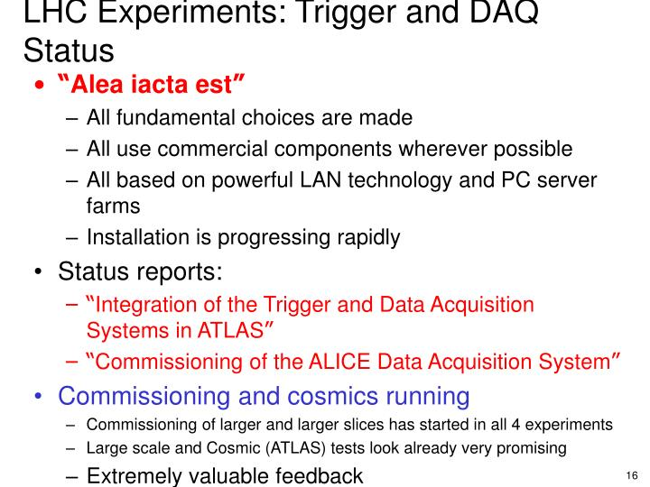 LHC Experiments: Trigger and DAQ Status