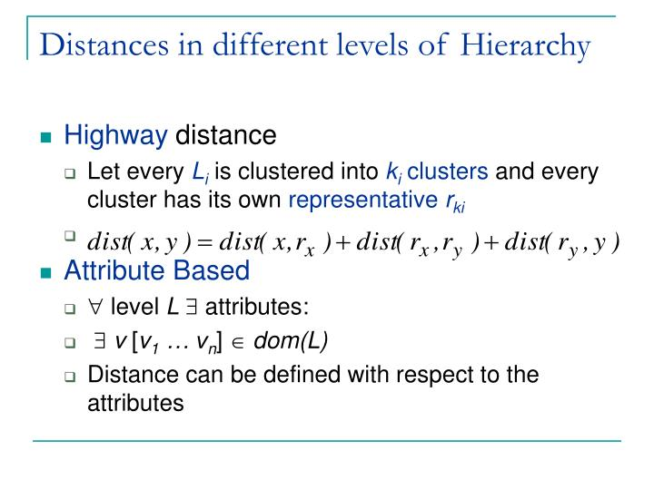 Distances in different levels of Hierarchy