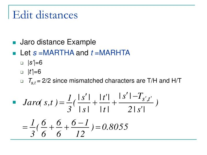 Edit distances